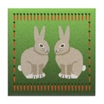 Rabbits and Carrots Tile Coaster