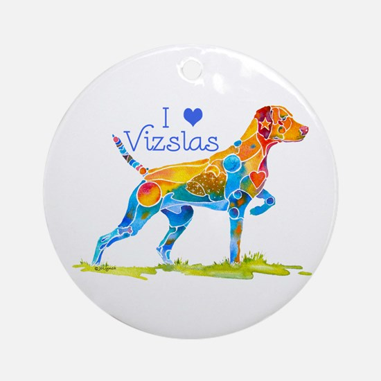 I LOVE HUNGARIAN VIZSLAS GIFTS Ornament (Round)