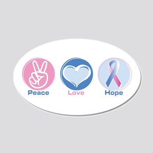Peace Love BlPk Hope 20x12 Oval Wall Decal