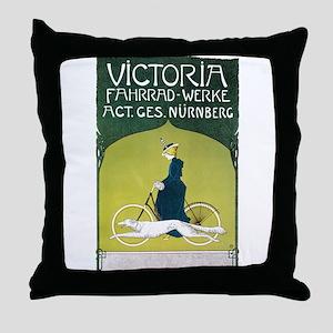 Vintage Art Nouveau Poster Throw Pillow
