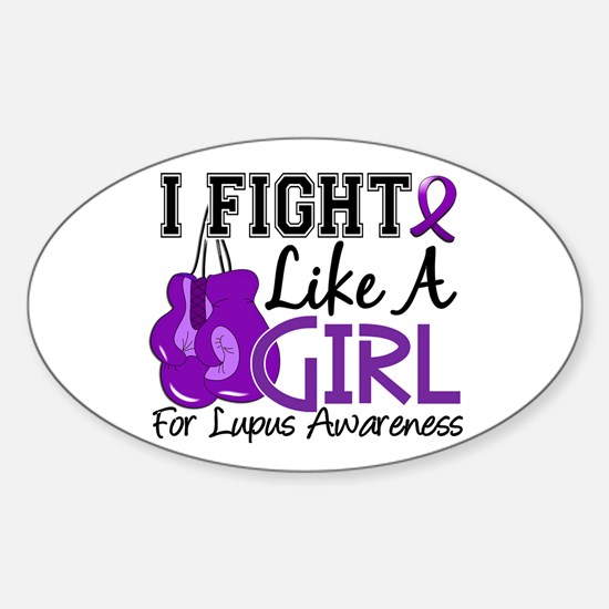 Licensed Fight Like a Girl 15.5 Lup Sticker (Oval)