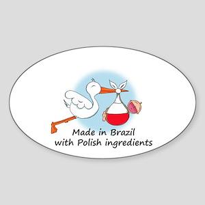 Stork Baby Poland Brazil Sticker (Oval)