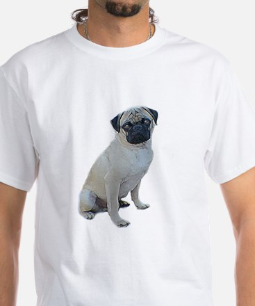 """pug picture """"artistic"""" White T-Shirt"""
