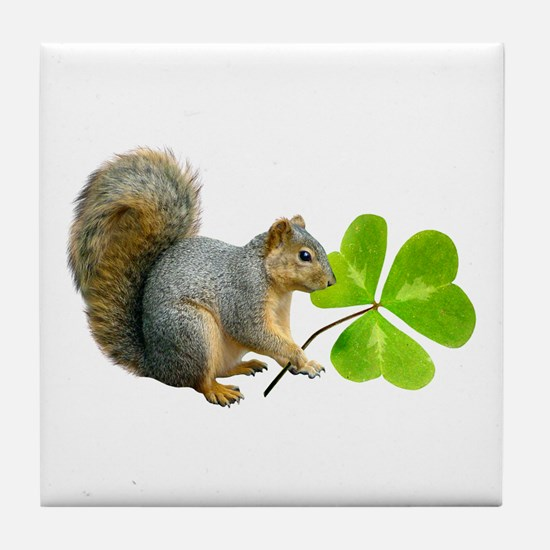 Shamrock Squirrel Tile Coaster