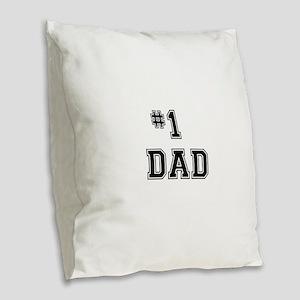 #1 Dad Burlap Throw Pillow