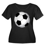 Soccer Ball Women's Plus Size Scoop Neck Dark T-Sh
