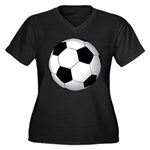 Soccer Ball Women's Plus Size V-Neck Dark T-Shirt