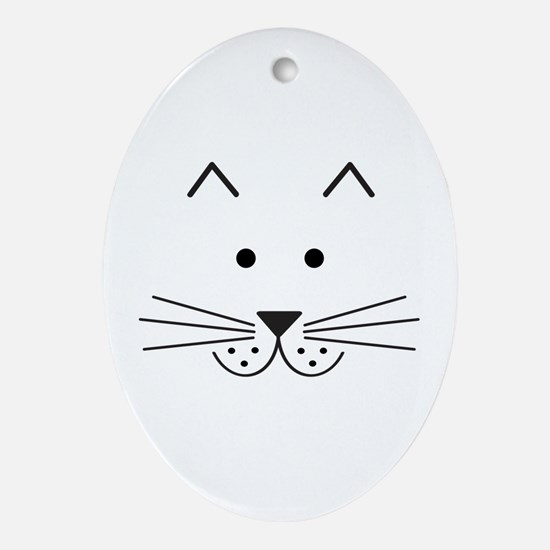 Cartoon Cat Face Ornament (Oval)