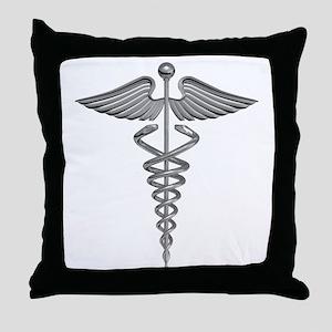 Silver Medical Symbol Throw Pillow