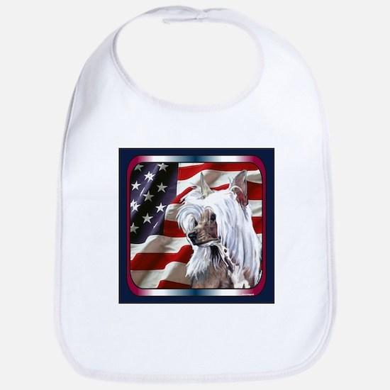 Chinese Crested USA Flag Bib