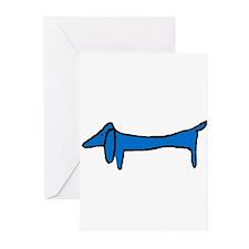Blue Dachshund Greeting Cards (Pk of 10)
