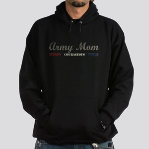 Army Mom:Strong Courageous Pr Hoodie (dark)