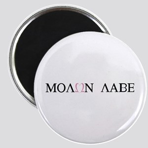 Molan Labe pink heart omega round Magnet
