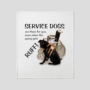 Service Dogs Ruff Throw Blanket