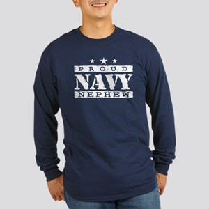 Proud Navy Nephew Long Sleeve Dark T-Shirt