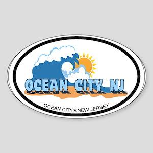 Ocean City NJ - Waves Design Sticker (Oval)