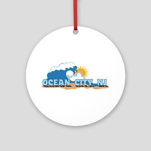 Ocean City NJ - Waves Design Ornament (Round)