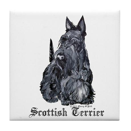 Scottish Terrier Portrait Tile Coaster