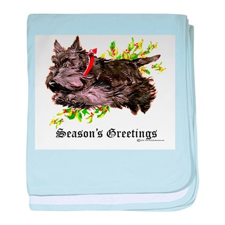 Season's Greetings Scottie baby blanket