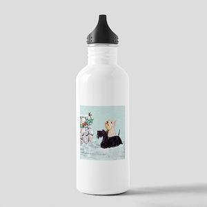 Scotties and Wren Winter Stainless Water Bottle 1.