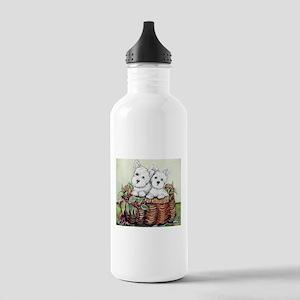 Westie Puppy Basket Stainless Water Bottle 1.0L