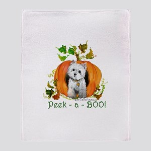 Autumn Pumpkin Westie Throw Blanket