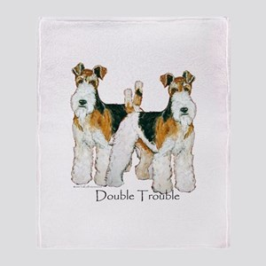 Double Trouble Wire Fox Terri Throw Blanket