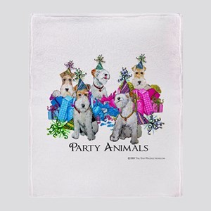 Fox Terrier Party Animals Throw Blanket