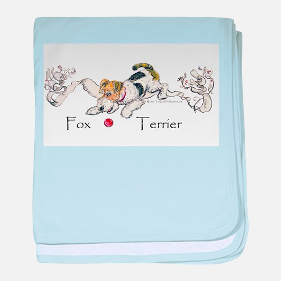 Playful Fox Terrier baby blanket