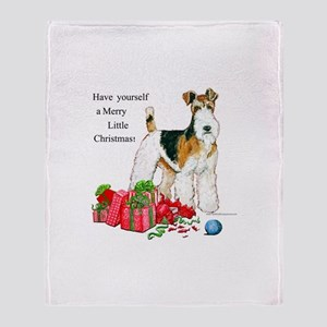 Merry Little Fox Terrier Throw Blanket