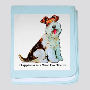 Fox Terrier Happiness baby blanket
