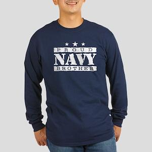 Proud Navy Brother Long Sleeve Dark T-Shirt