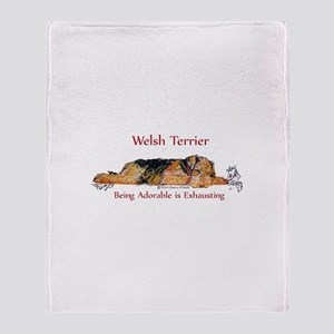 Exhausted Welsh Terrier Throw Blanket