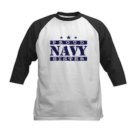 Proud Navy Sister Kids Baseball Jersey