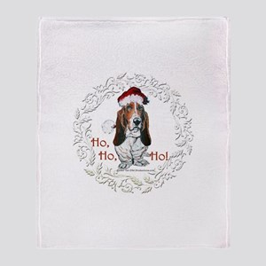 Basset Hound Christmas Throw Blanket
