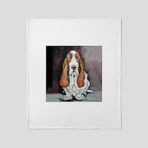 Basset Hound Portrait Throw Blanket