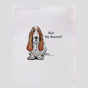 Kiss My Bassett!! Throw Blanket