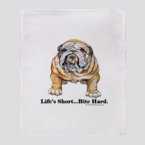 Bulldog Bite for Dog lovers Throw Blanket