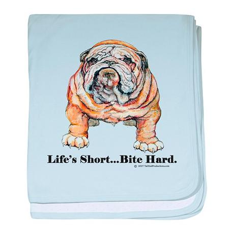 Bulldog Bite for Dog lovers baby blanket