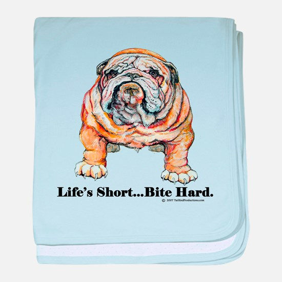 Bulldog Bite for Dog lovers baby blanket