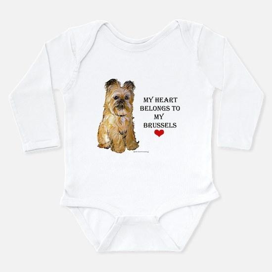 Brussels Griffon Heart Long Sleeve Infant Bodysuit