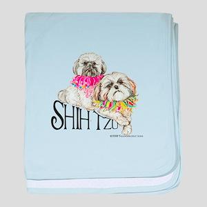 Two Shih Tzu! baby blanket