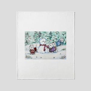 Westie Snow Dogs Throw Blanket