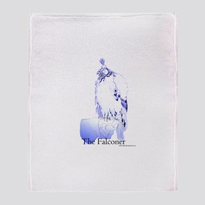 The Falconer in Blue - Birds Throw Blanket