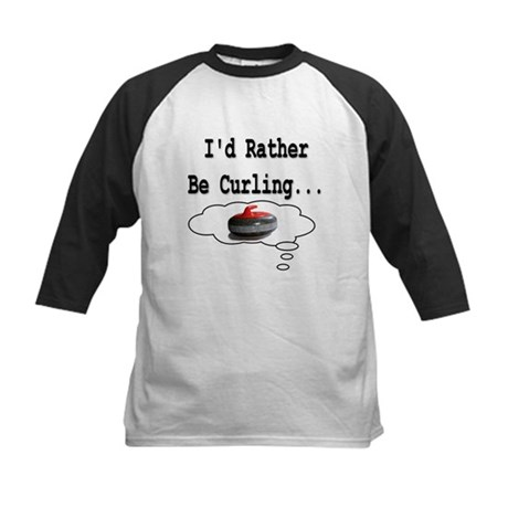I'd Rather Be Curling.. Kids Baseball Jersey