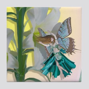 Easter lily Fairy Tile Coaster