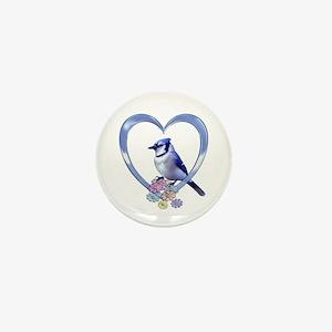 Blue Jay in Heart Mini Button