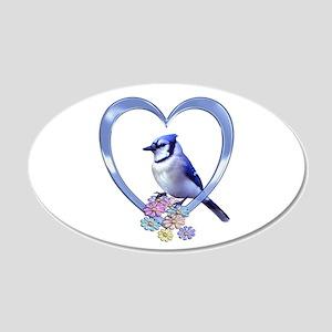 Blue Jay in Heart 22x14 Oval Wall Peel