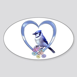 Blue Jay in Heart Sticker (Oval 10 pk)