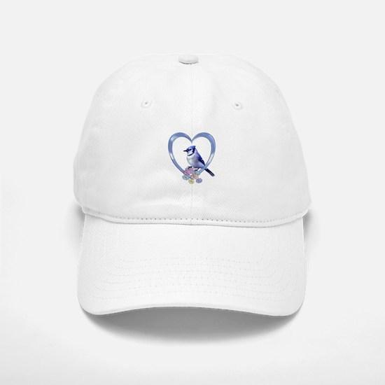 Blue Jay in Heart Baseball Baseball Cap